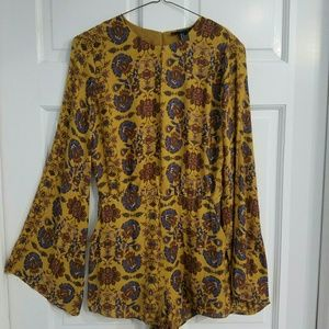 Golden Bohemian Floral Romper Size Small